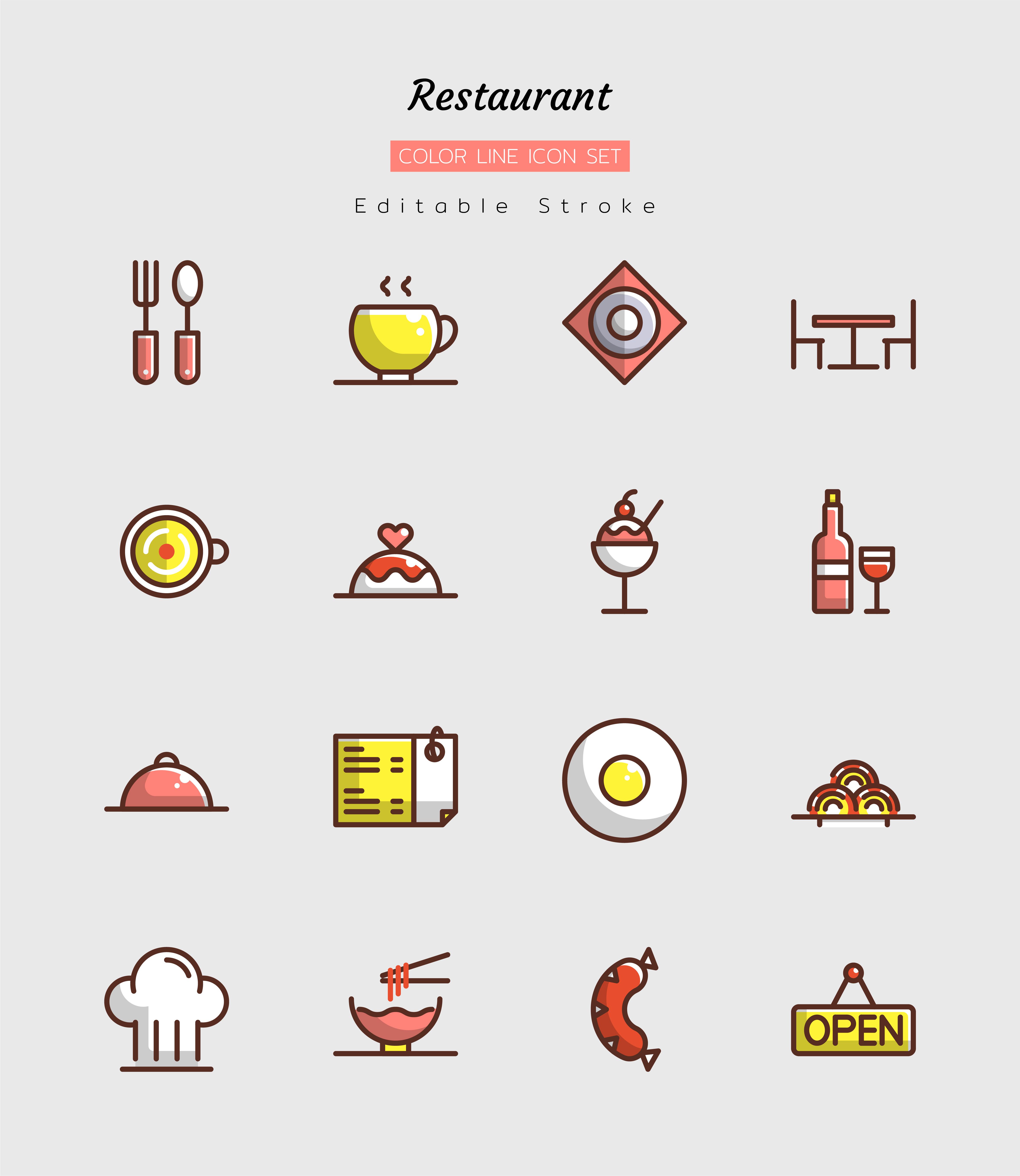 conjunto de símbolos de ícone de restaurante em linha preenchida