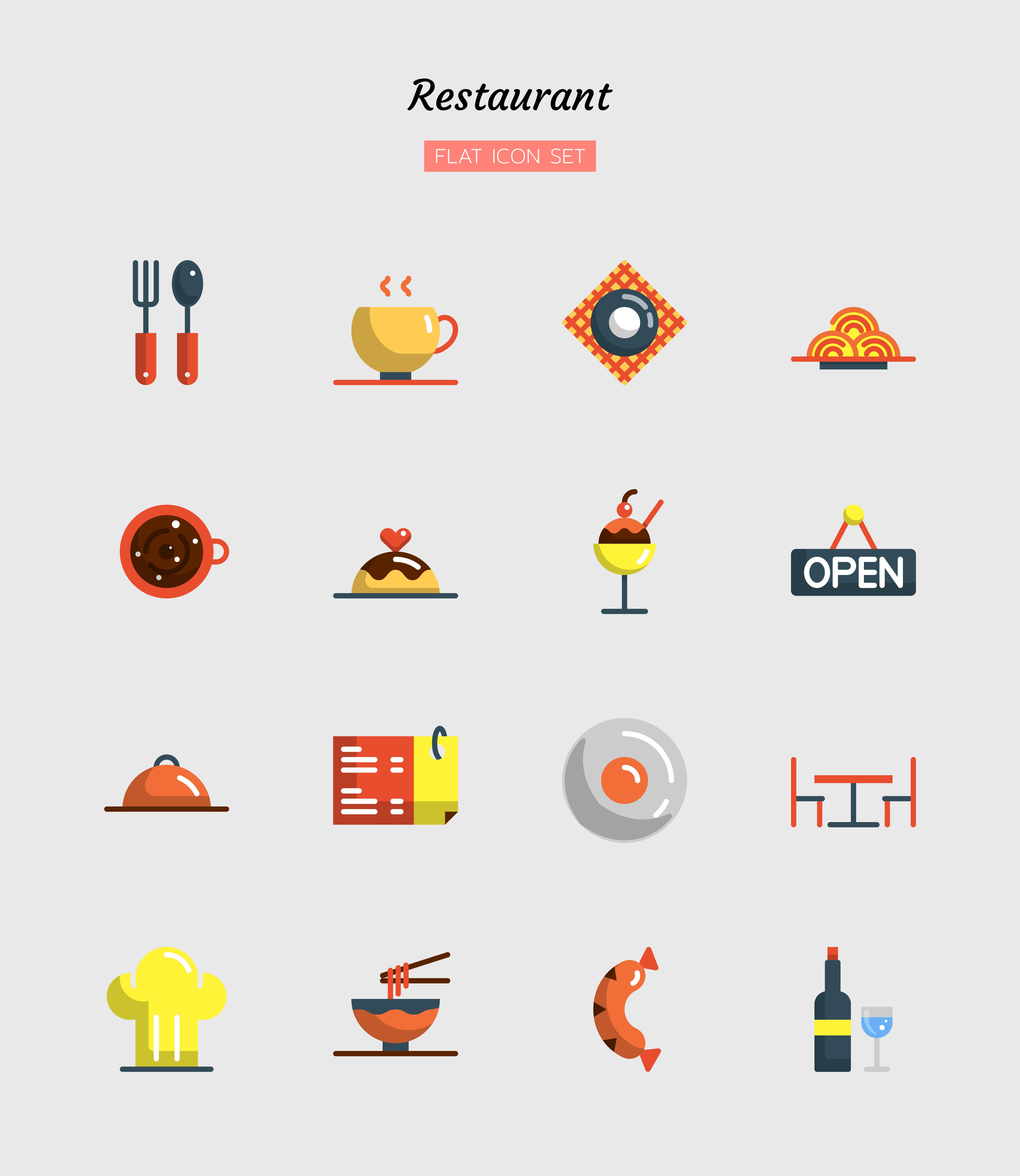 colorido, plano, restaurante, icono, símbolo, conjunto