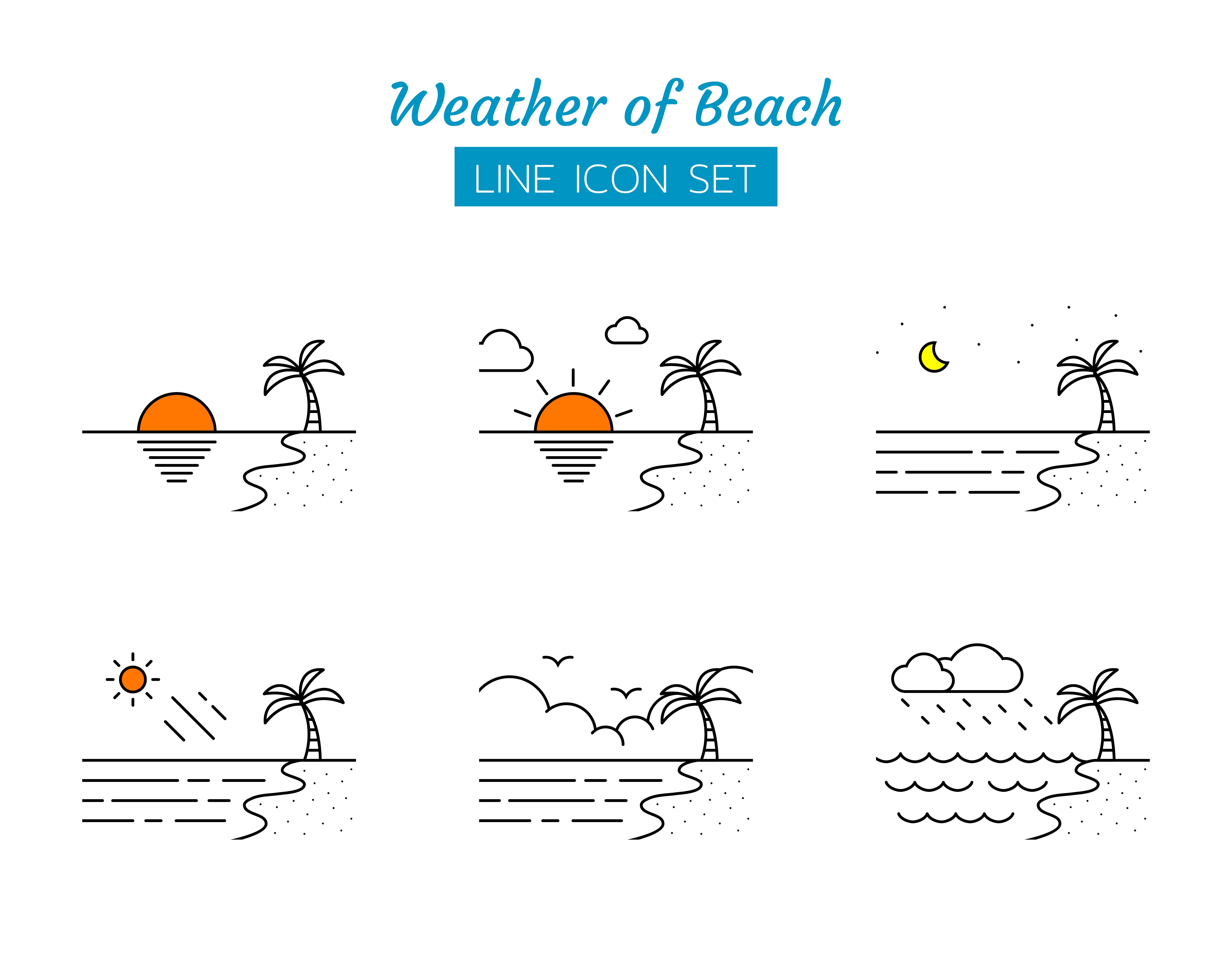 Beach weather line icon symbol set