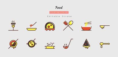 Filled color line food icon symbol set vector