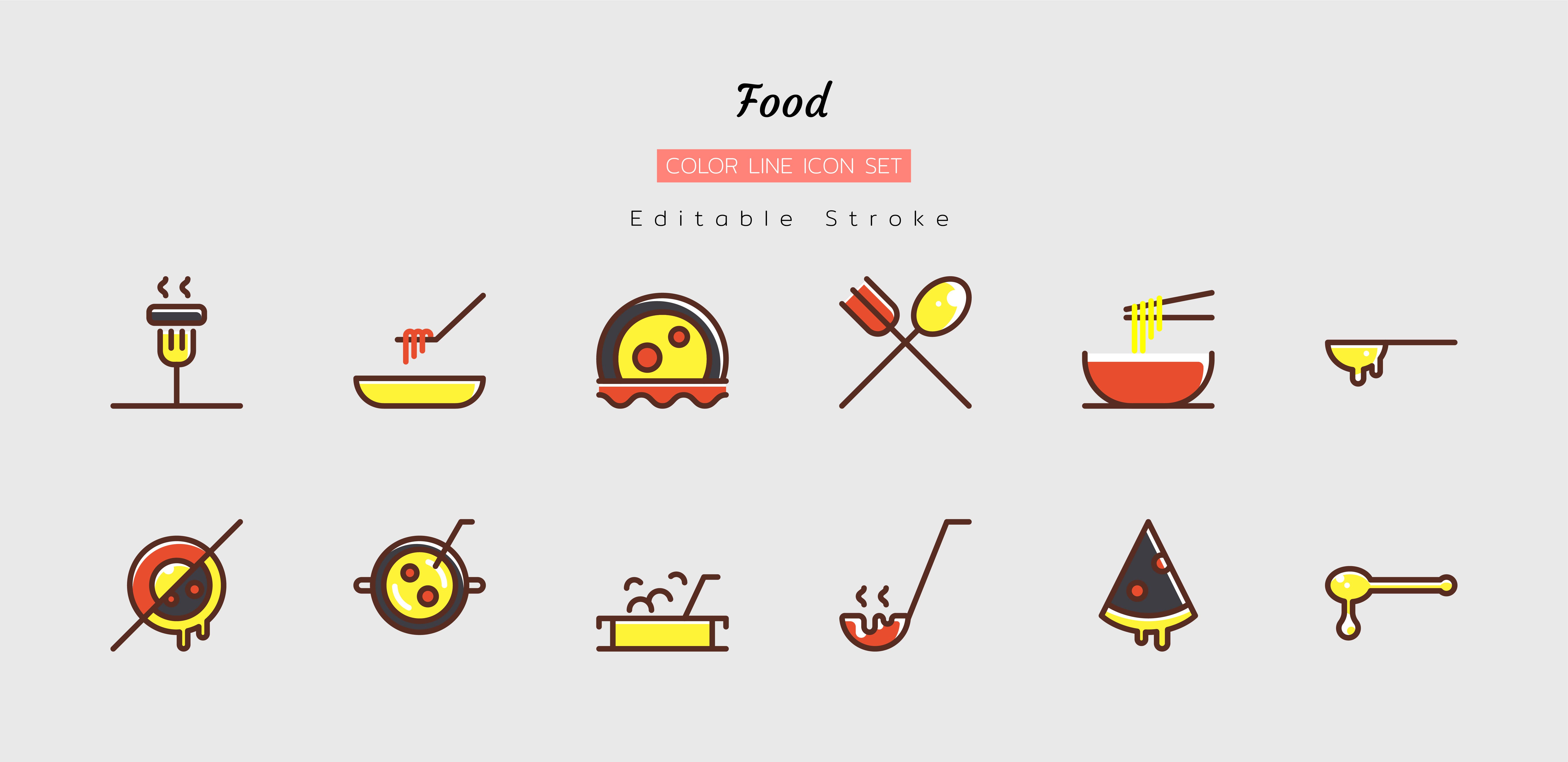 Filled color line food icon symbol set