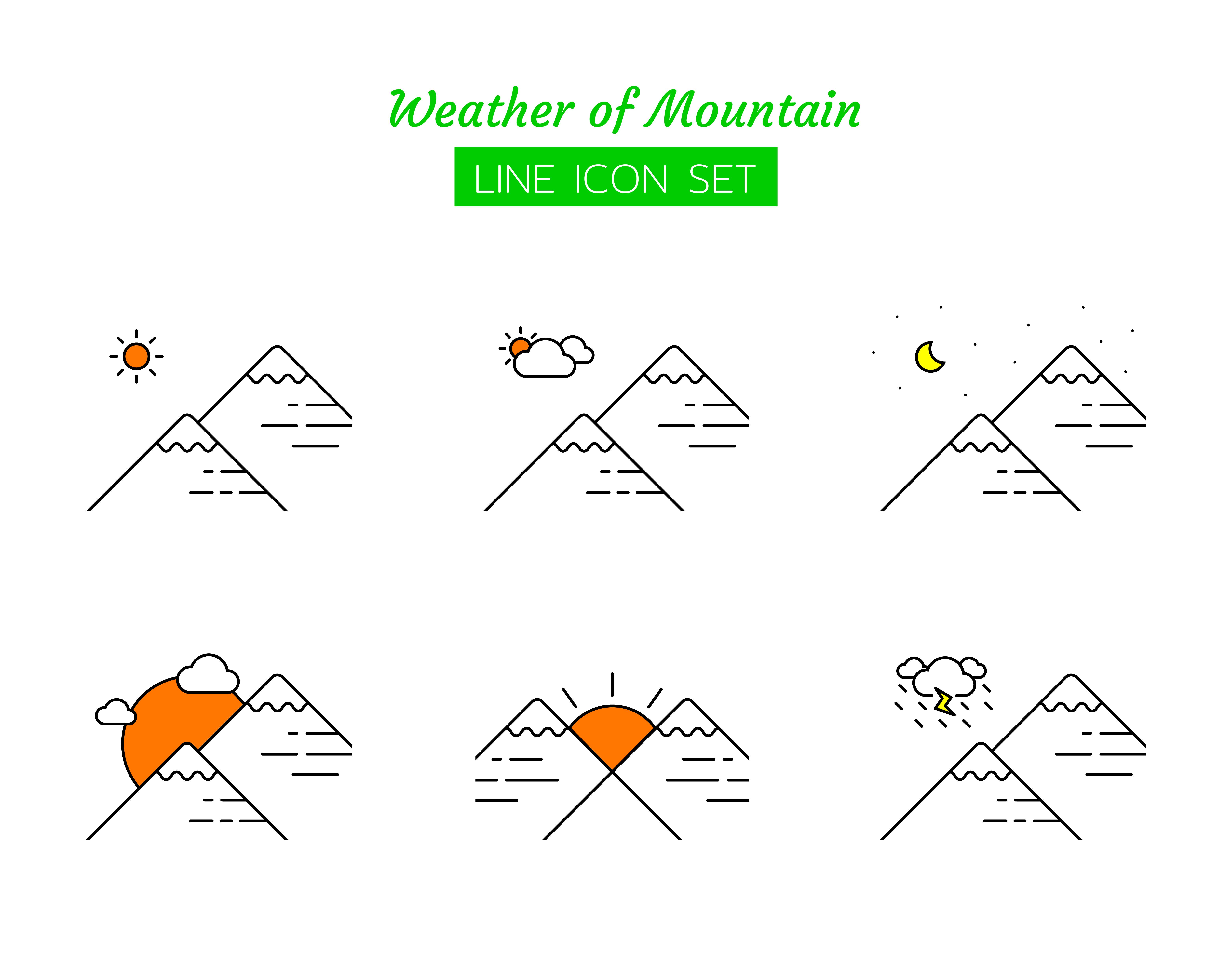 Mountain weather line icon symbol set
