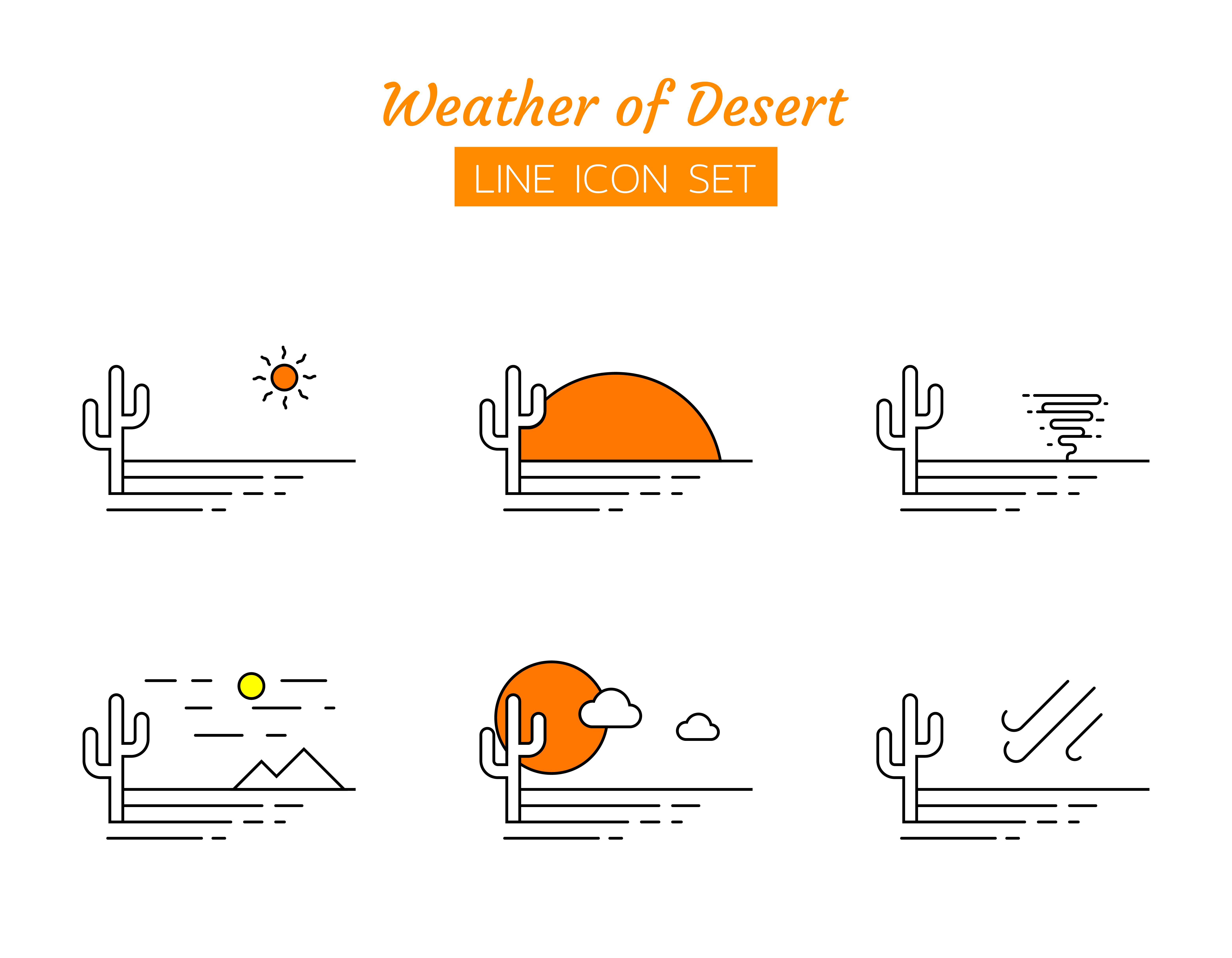 Desert weather line icon symbol set