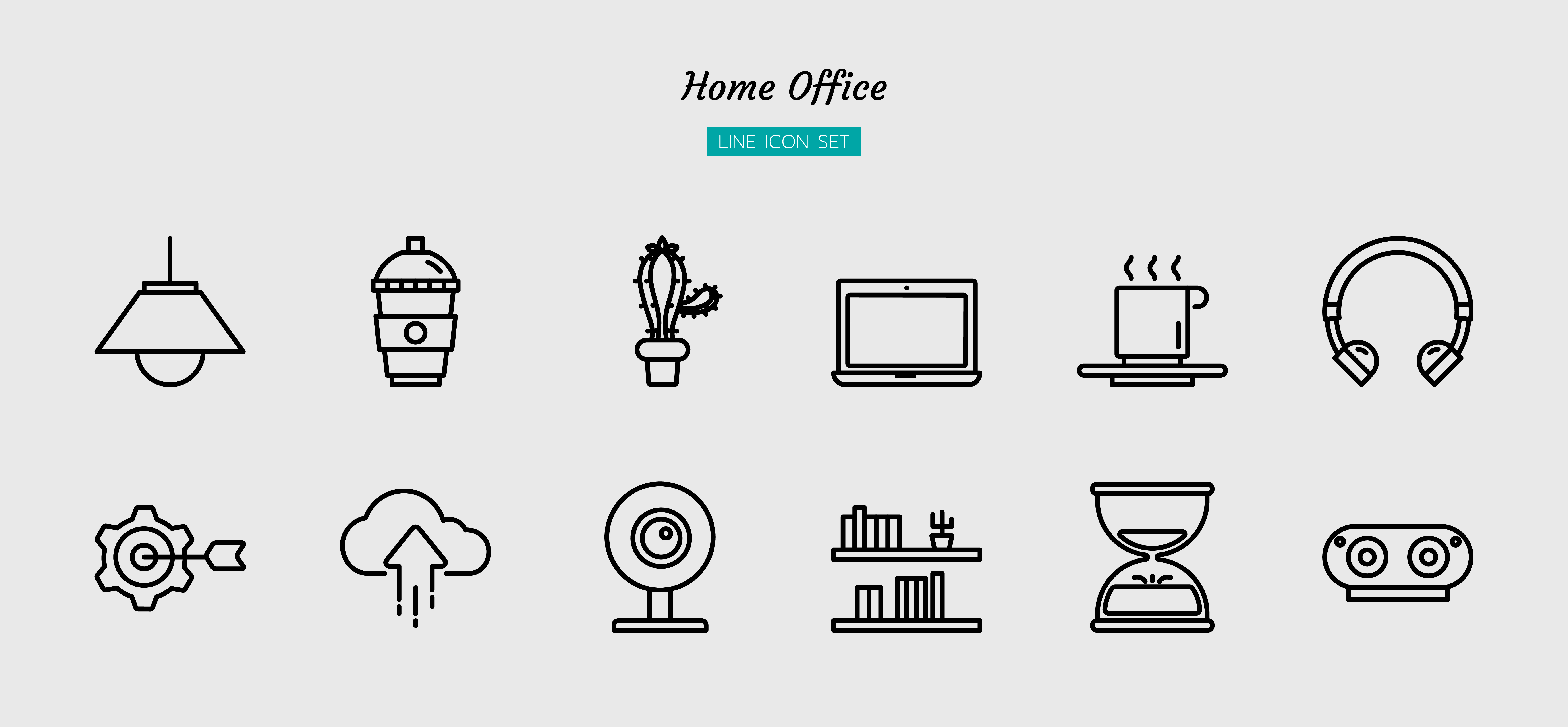 Home office black line icon symbol set vector