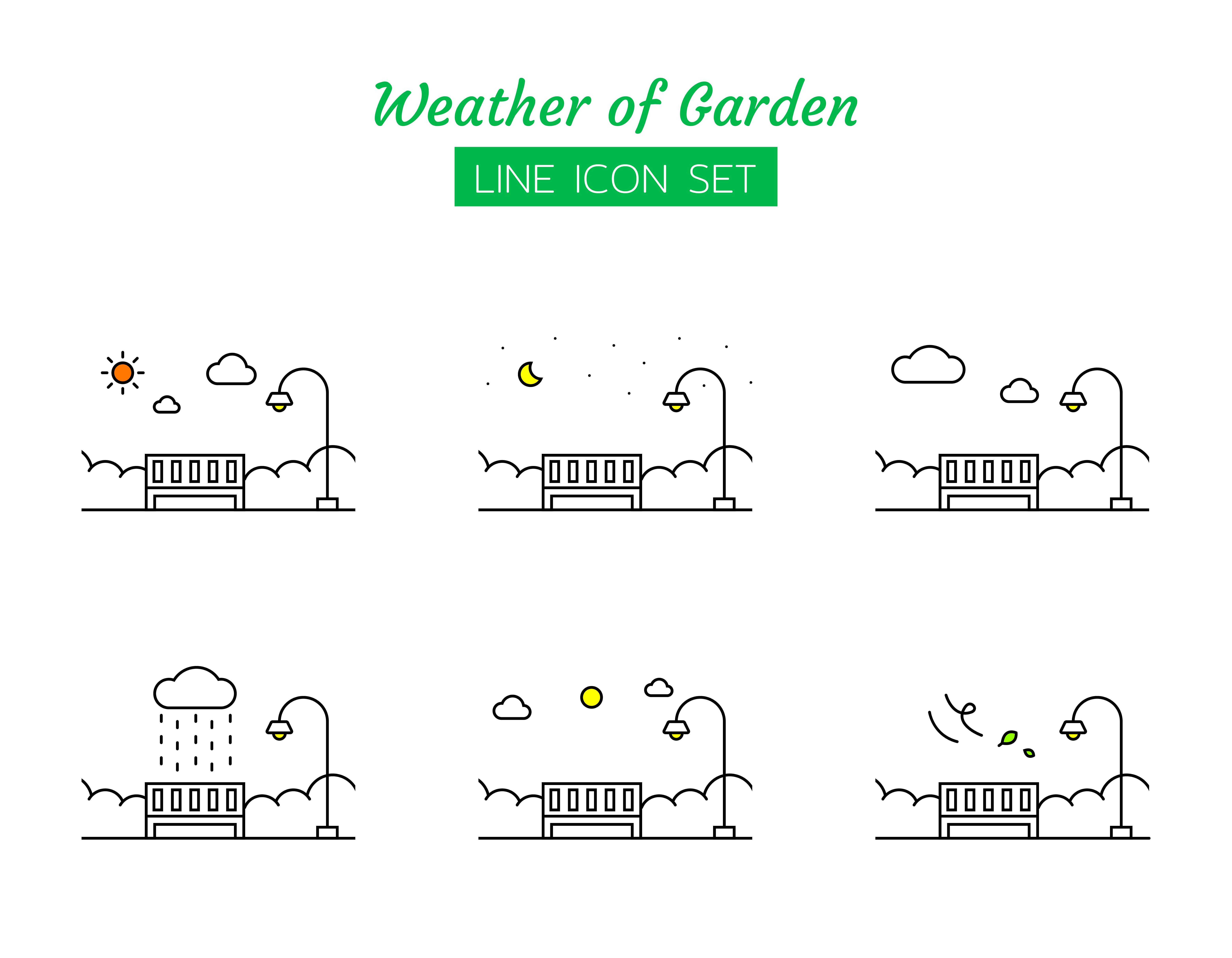 Garden weather line icon symbol set