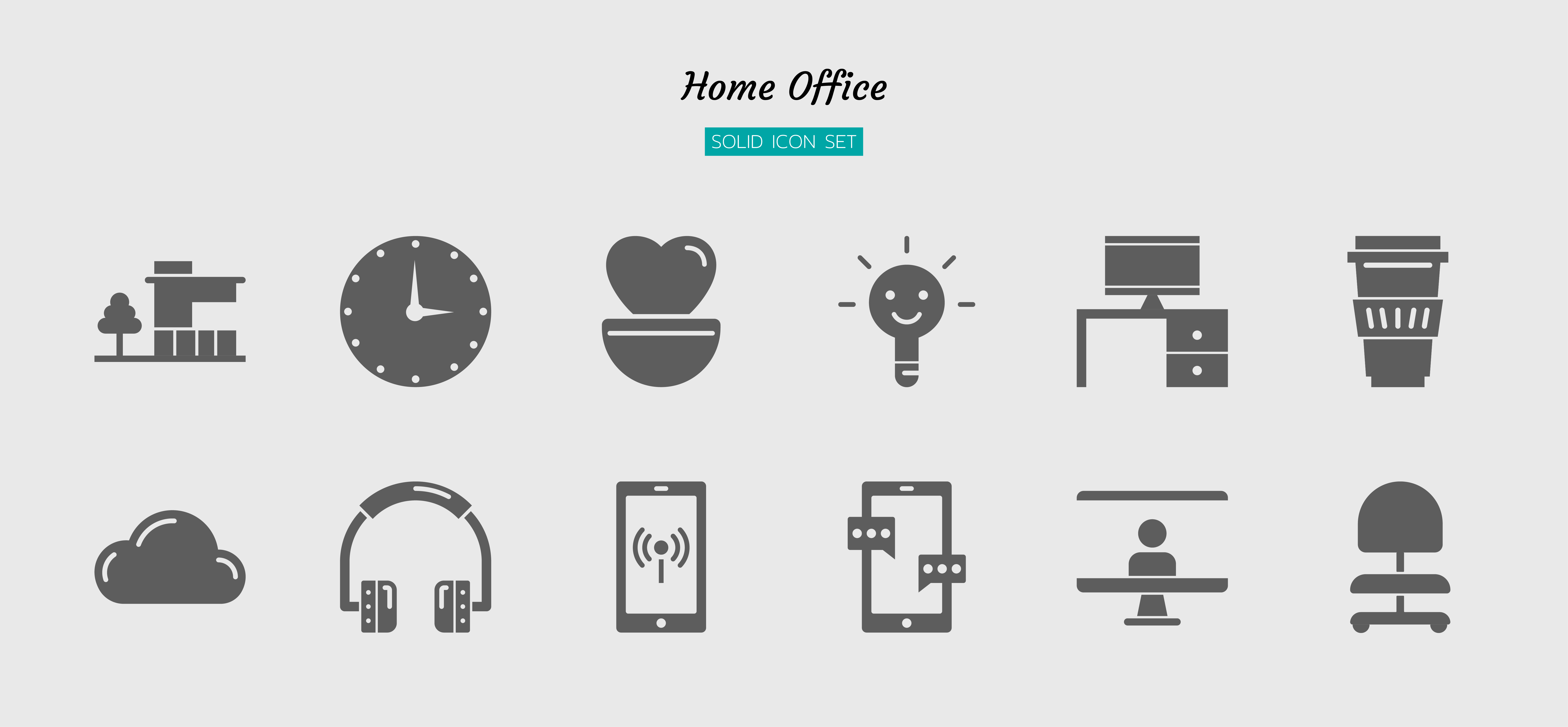 Solid icon symbol set, home office concept vector