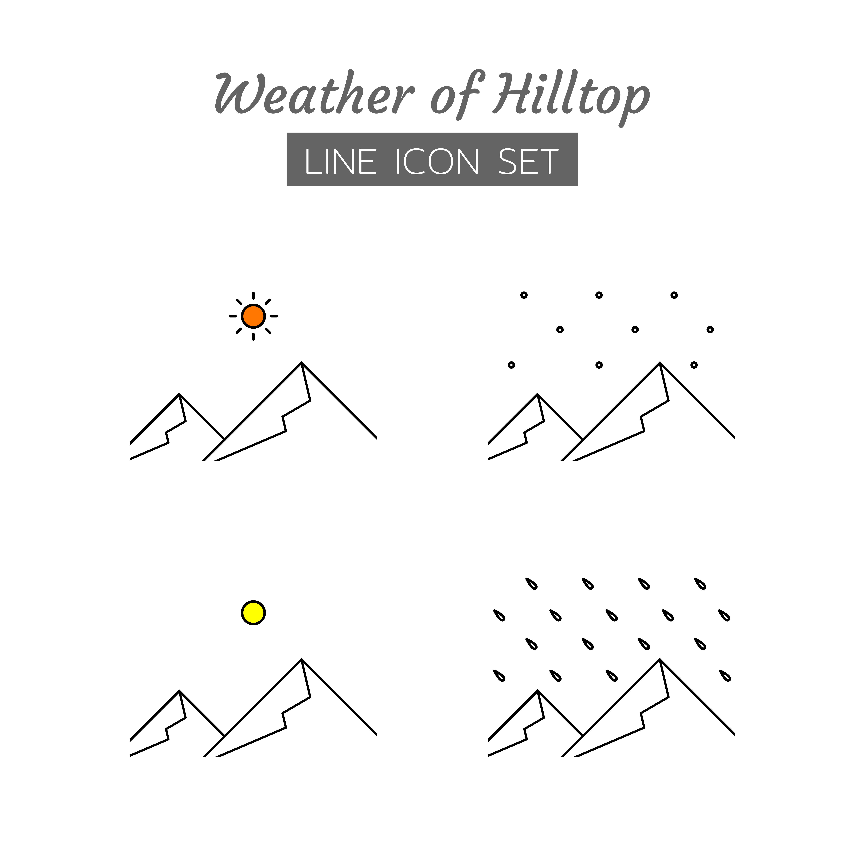 Hilltop weather line icon symbol set