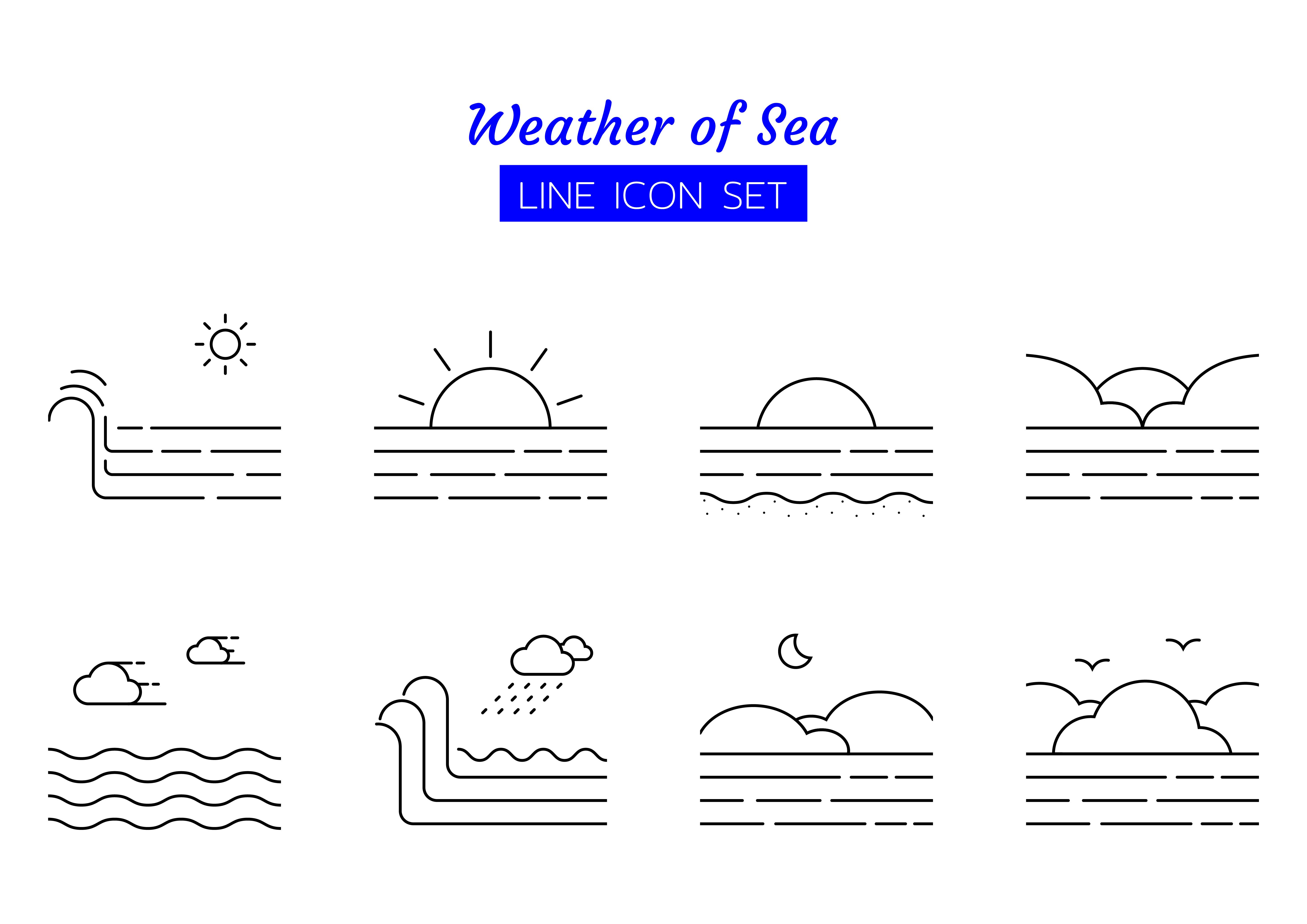 Sea weather line icon symbol set