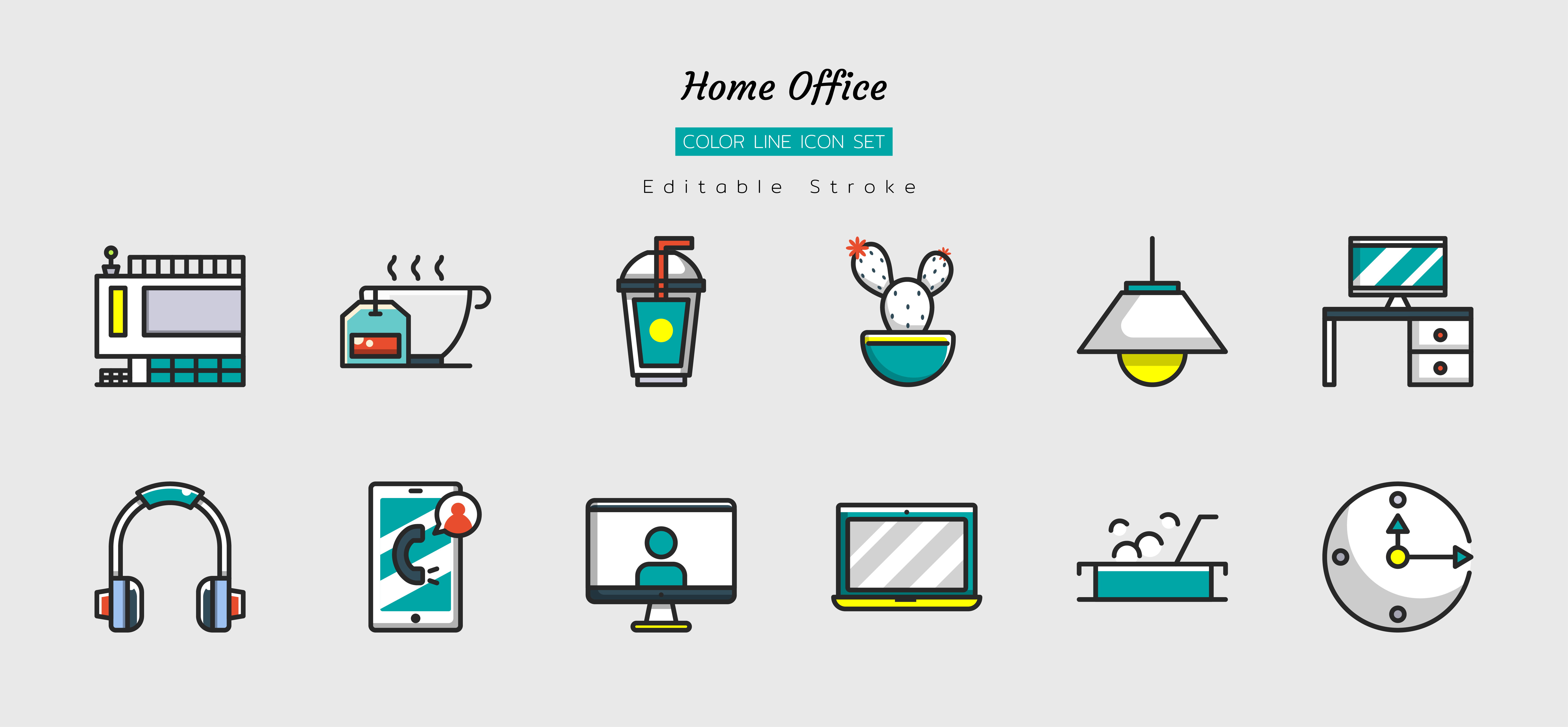 Filled color line home office icon symbol set vector