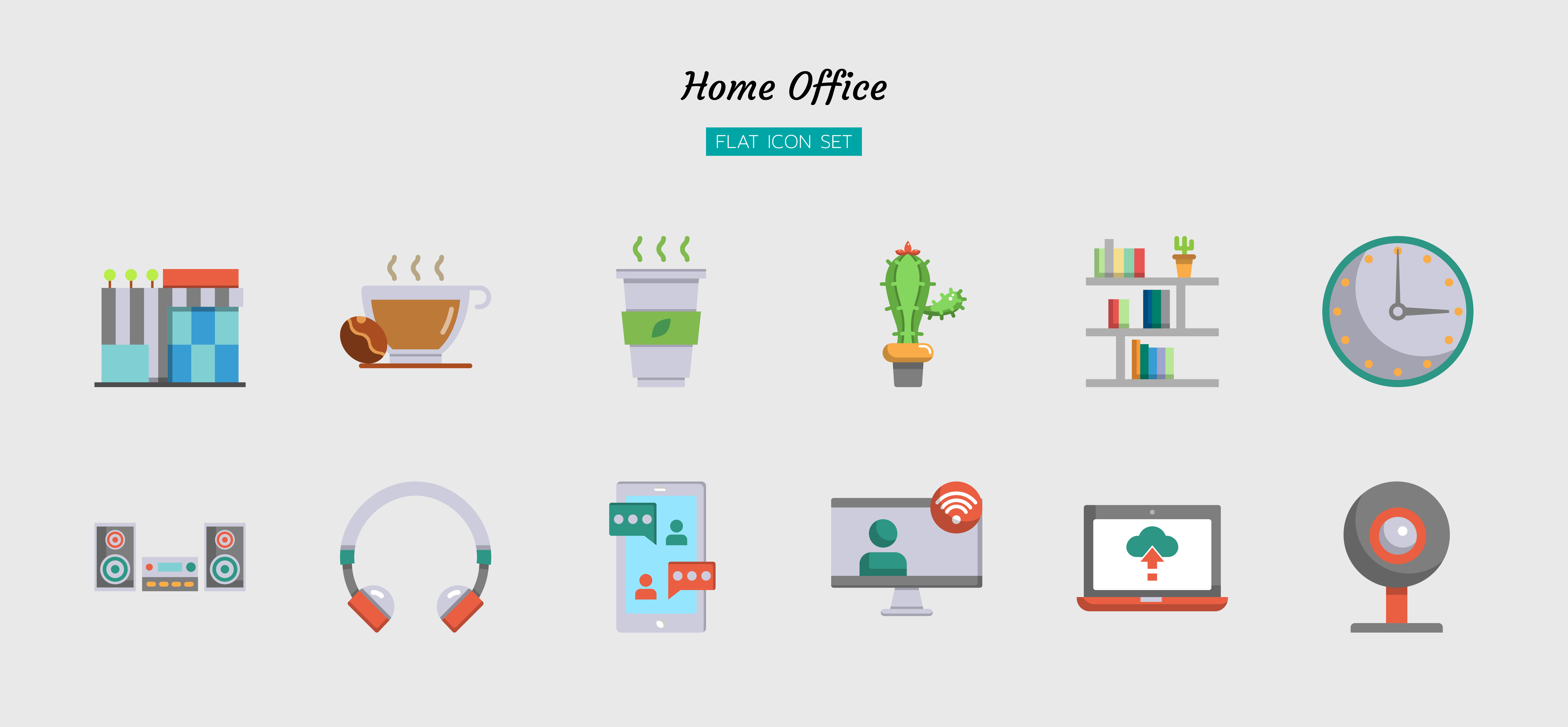 Color flat home office icon symbol set vector