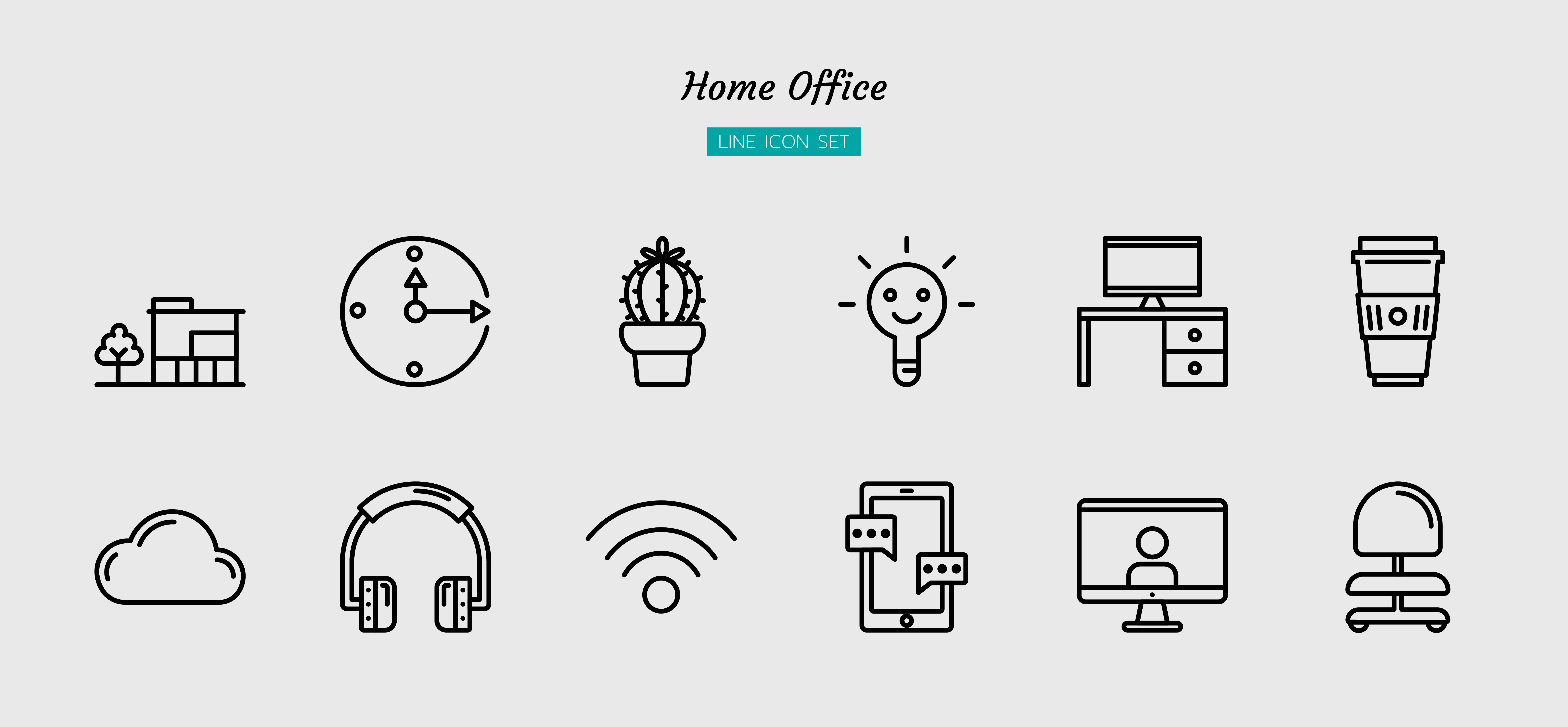 Outline home office icon symbol set vector