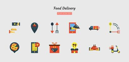 Color flat food delivery icon symbol set vector