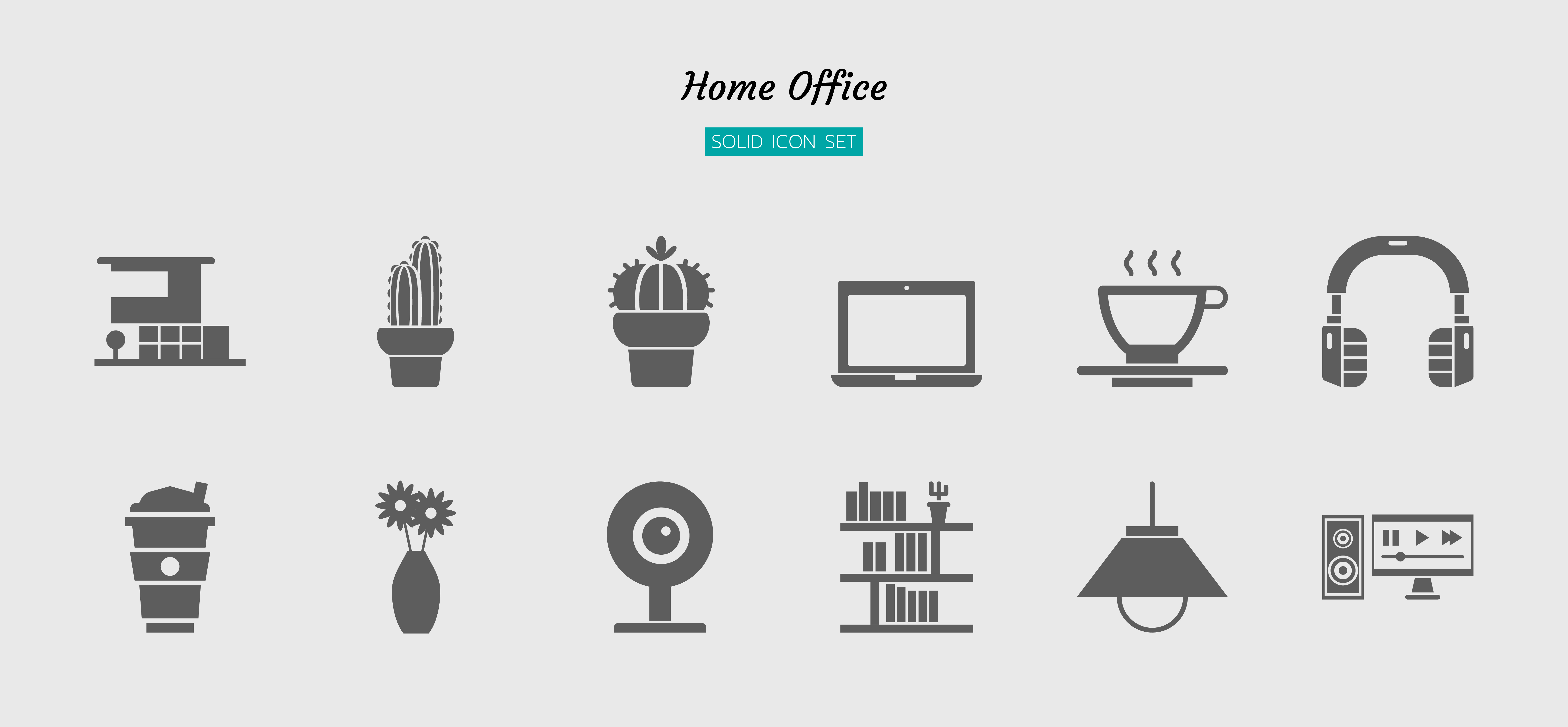 Solid gray home office icon symbol set vector