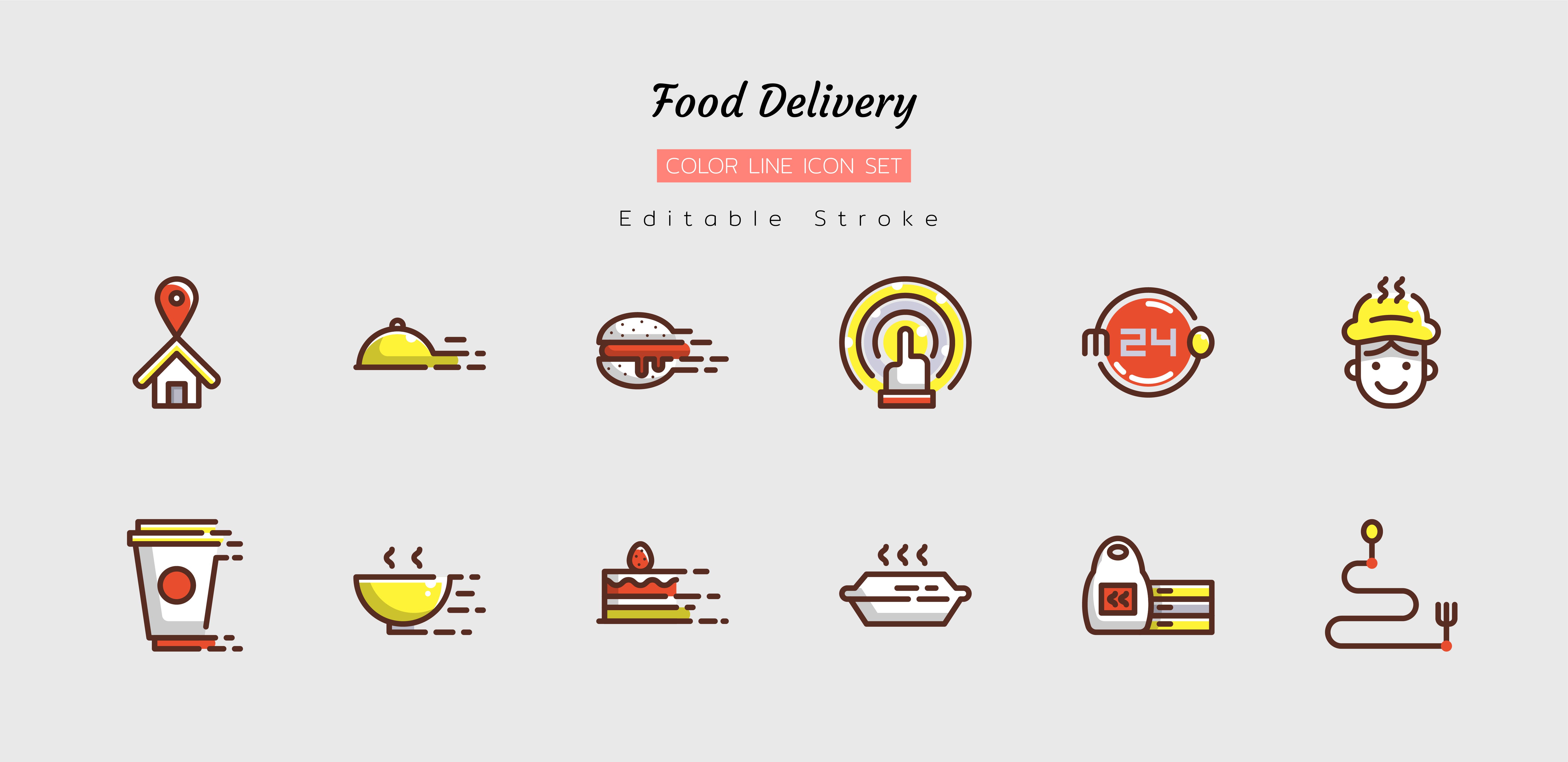 Filled line food delivery icon symbol set