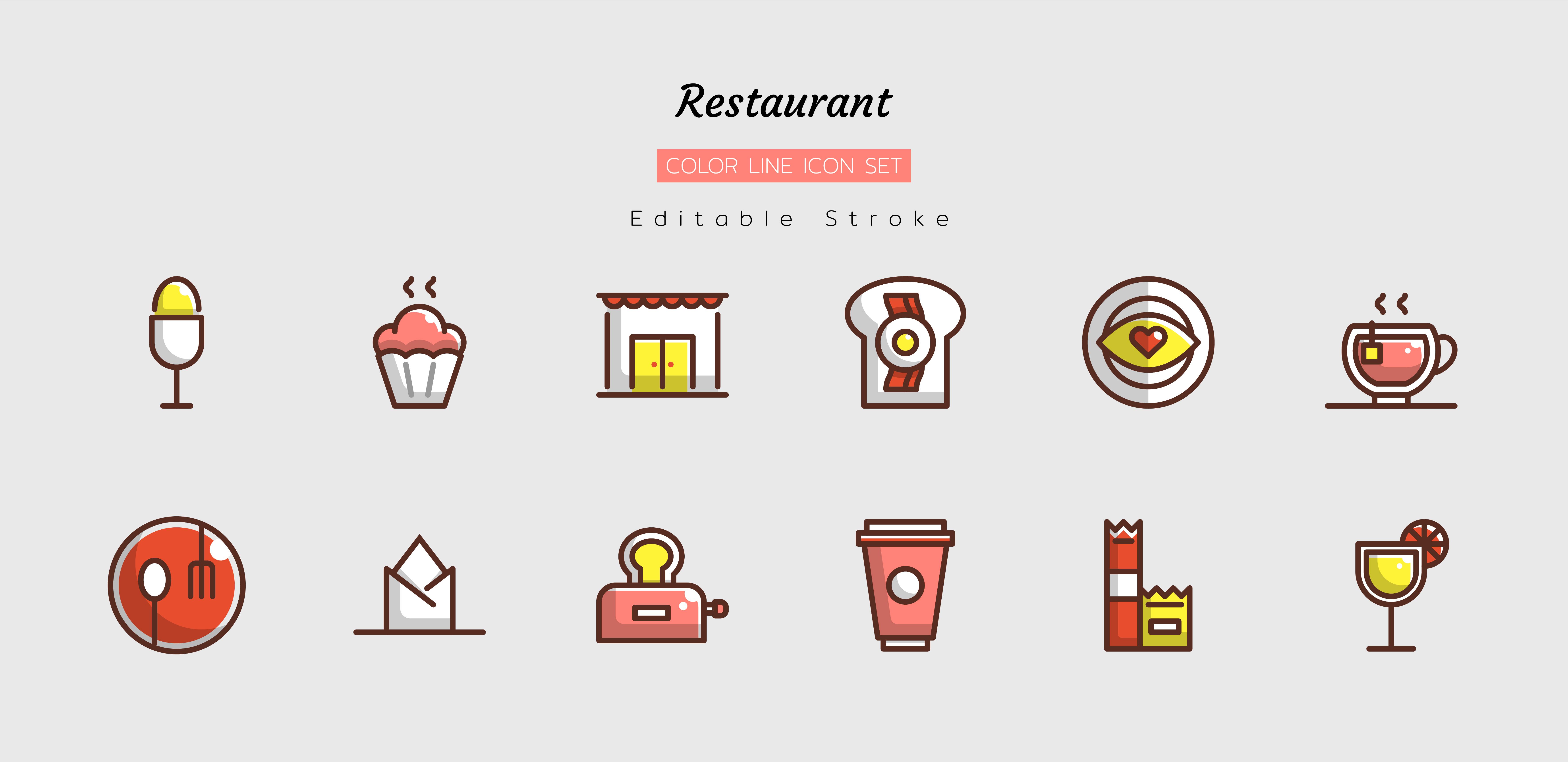 conjunto de ícones de restaurante em linha cheia
