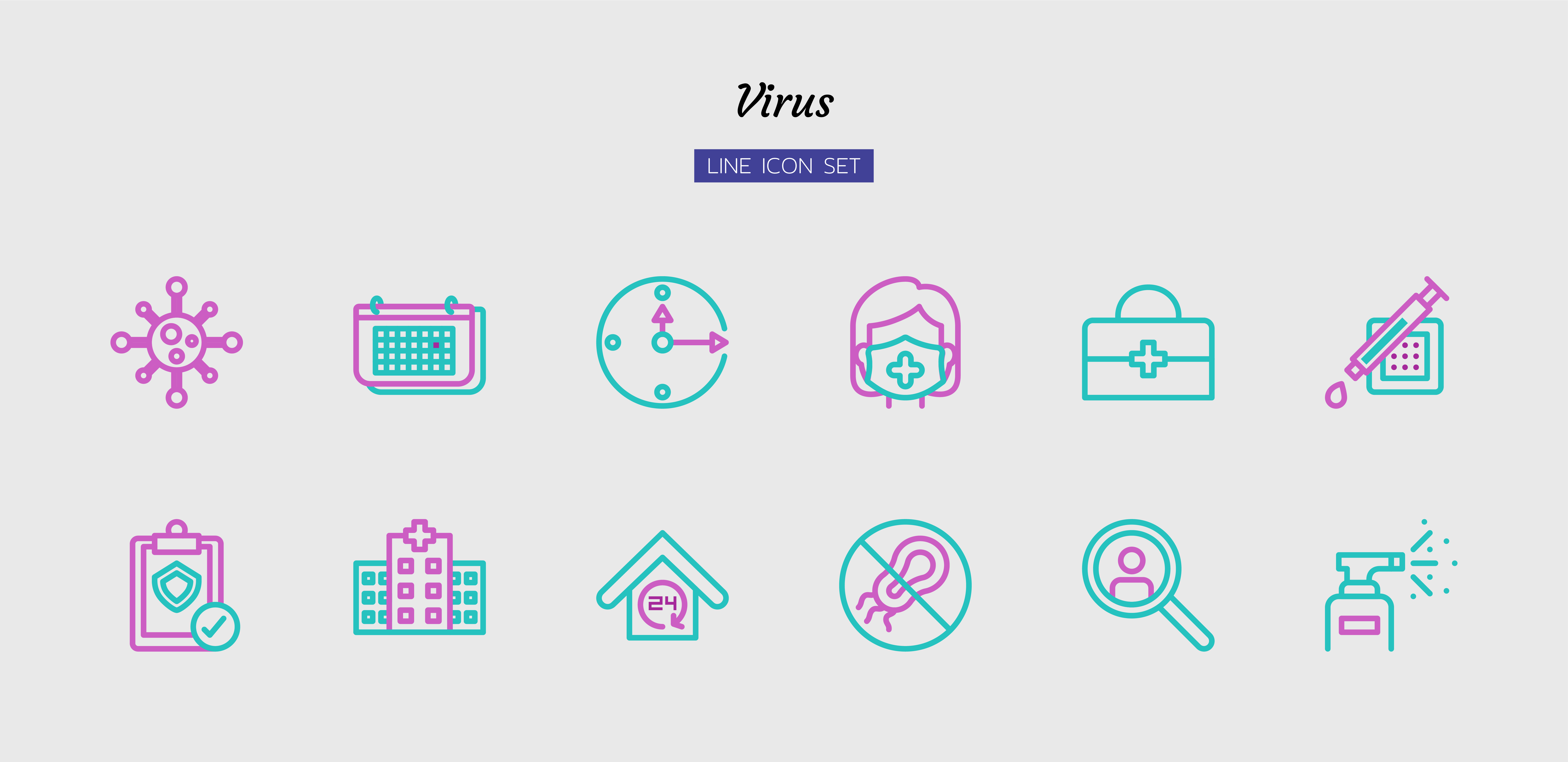 Purple and green line virus icon symbol set