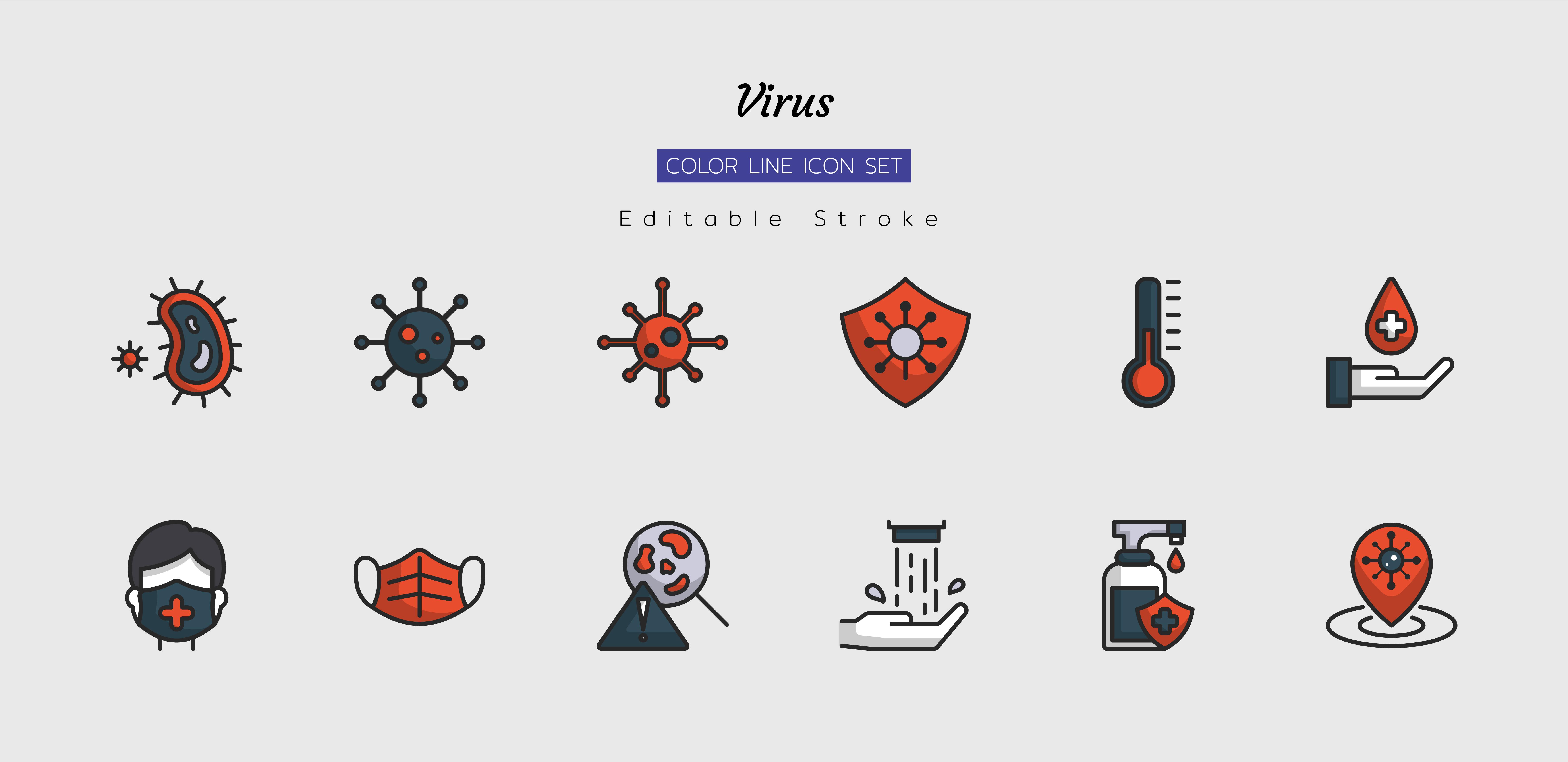 Filled line virus icon symbol set