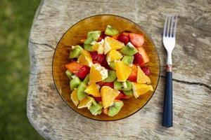 Healthy breakfast on wooden table photo