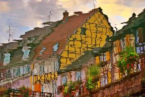 Reflection of Half-Timbered Street