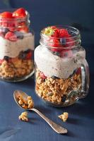 homemade granola and chia seed pudding with berry healthy breakf photo