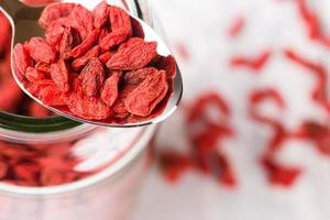 Goji berries de superalimento em uma colher em uma jarra