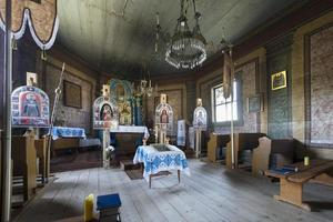 Old wooden orthodox church interior, Poland
