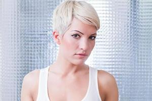 woman with short blond hair photo