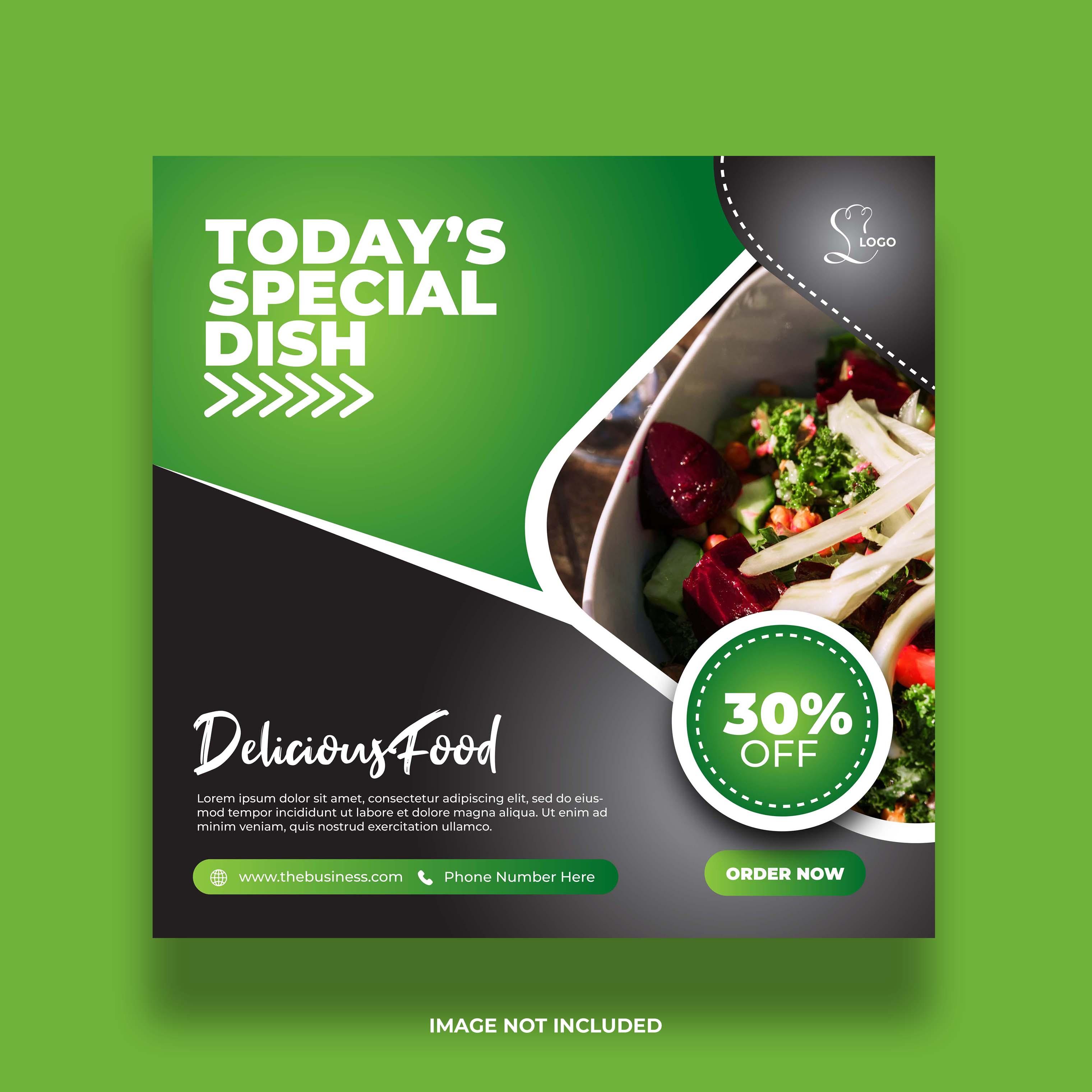 Minimal Green and Black Restaurant Social Media Banner