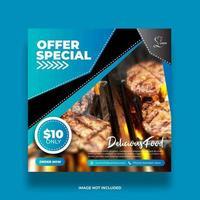 Blue Angled Shape Special Offer Social Media Banner vector
