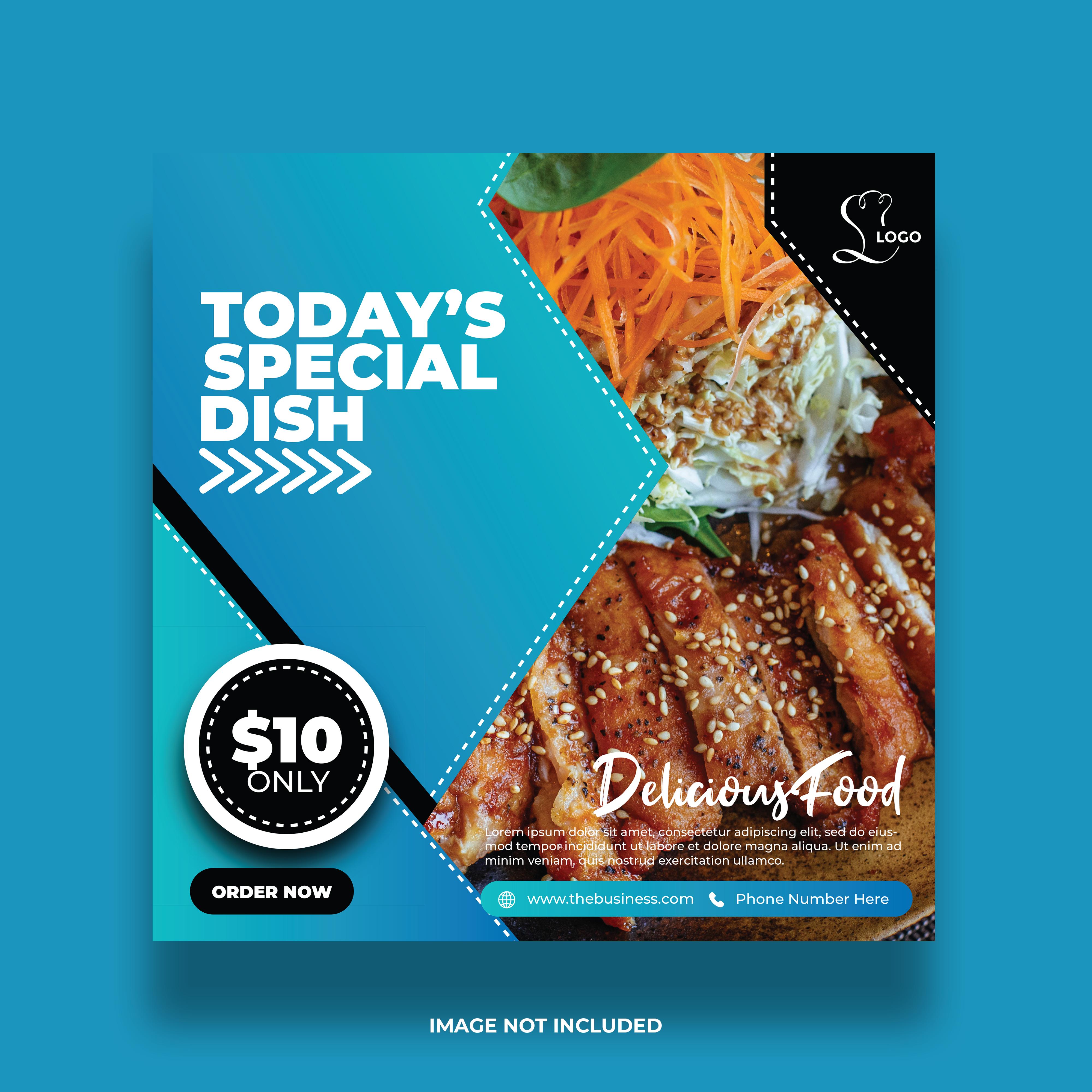 Blue Gradient Restaurant Special Dish Social Media Banner