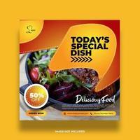 Orange Gradient Special Dish Social Media Banner vector