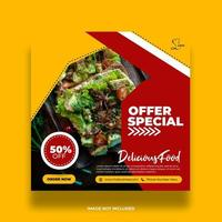Red and Yellow Special Offer Food Social Media Banner vector