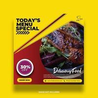 Dynamic Yellow Angled Shape Restaurant Social Media Banner vector