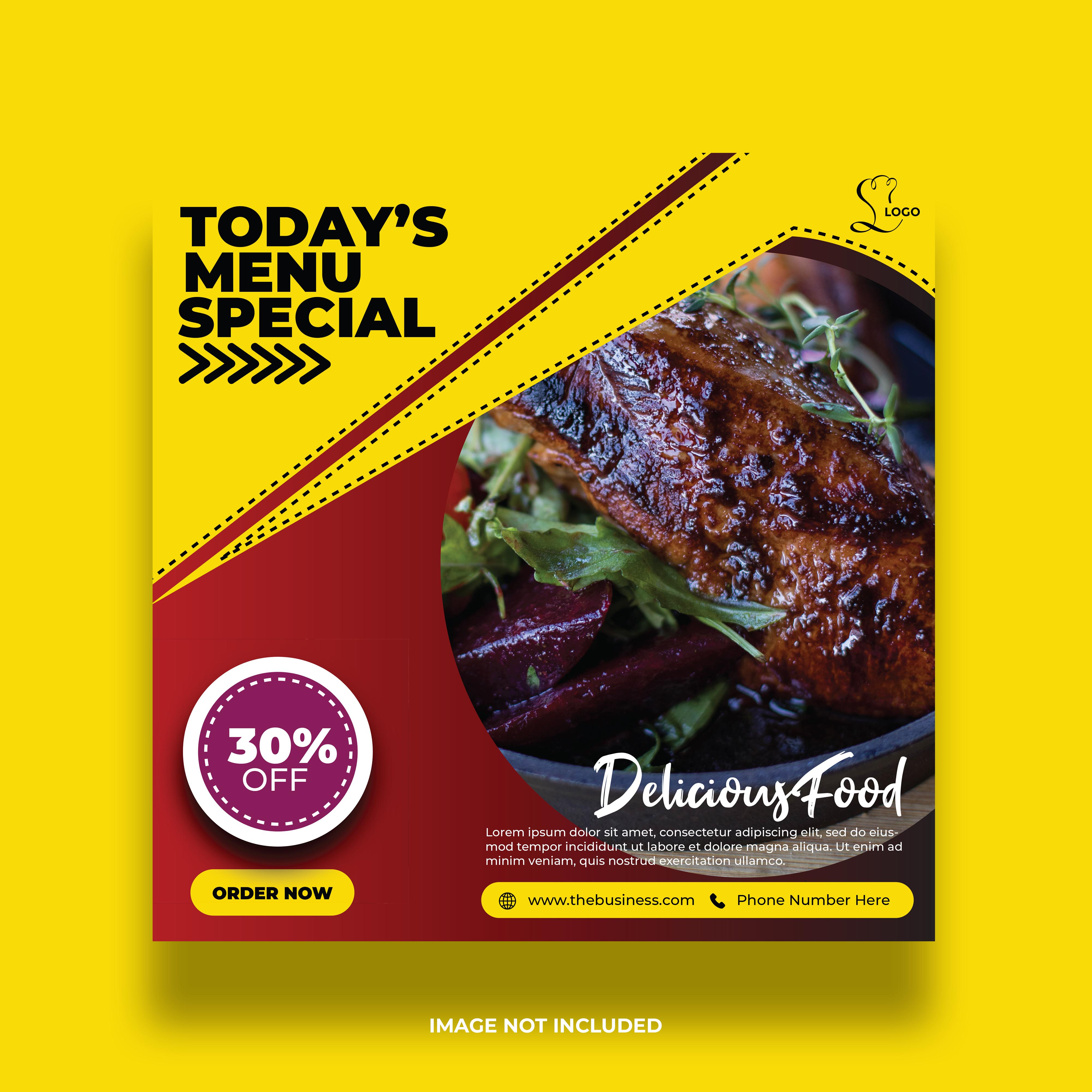 Dynamic Yellow Angled Shape Restaurant Social Media Banner