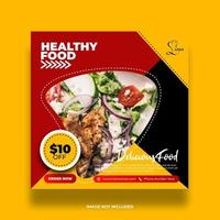 Red, Yellow and Black Restaurant Banner For Social Media Post vector