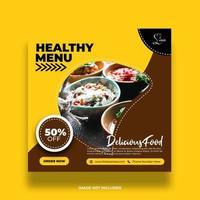 banner de redes sociales de menú saludable amarillo y marrón vector