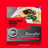 Red and Gray Angled Healthy Food Social Media Banner vector