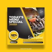 Black and Yellow Menu Special Banner For Social Media vector