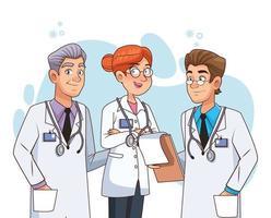 personajes del personal médico profesional. vector