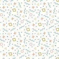 Retro Memphis Geometric Line Shapes Seamless Pattern vector