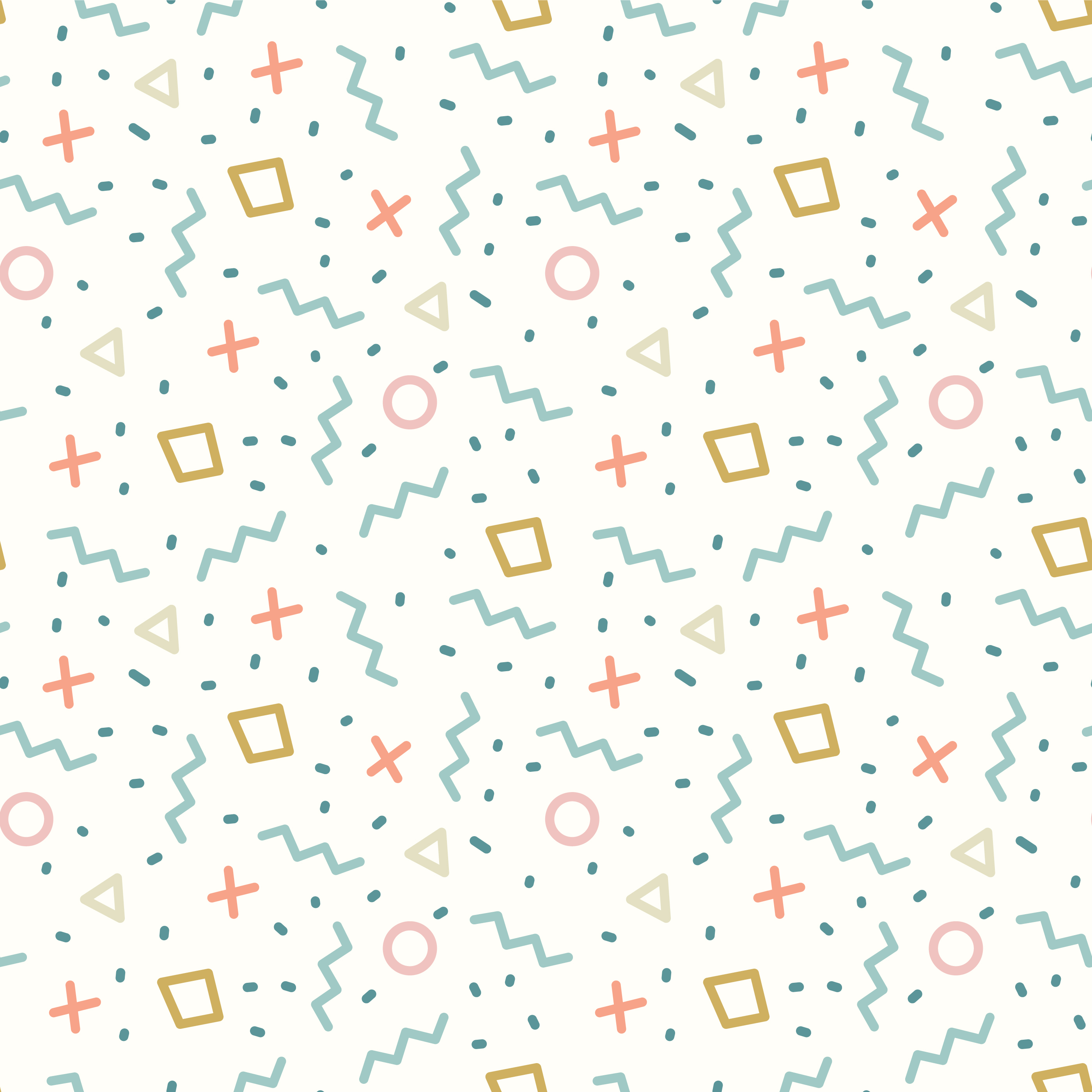Retro Memphis Geometric Line Shapes Seamless Pattern vector