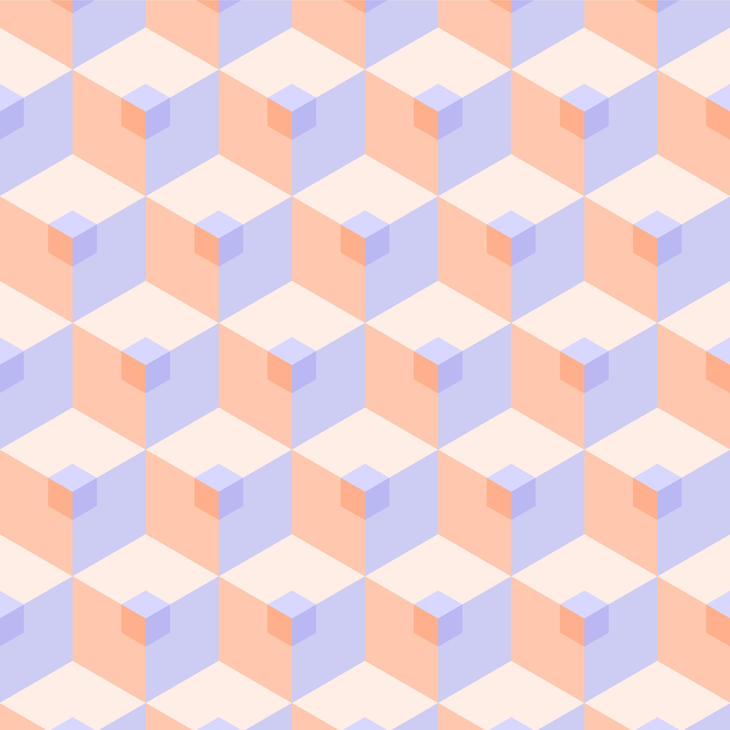 Seamless 3D Pastel Cube Pattern