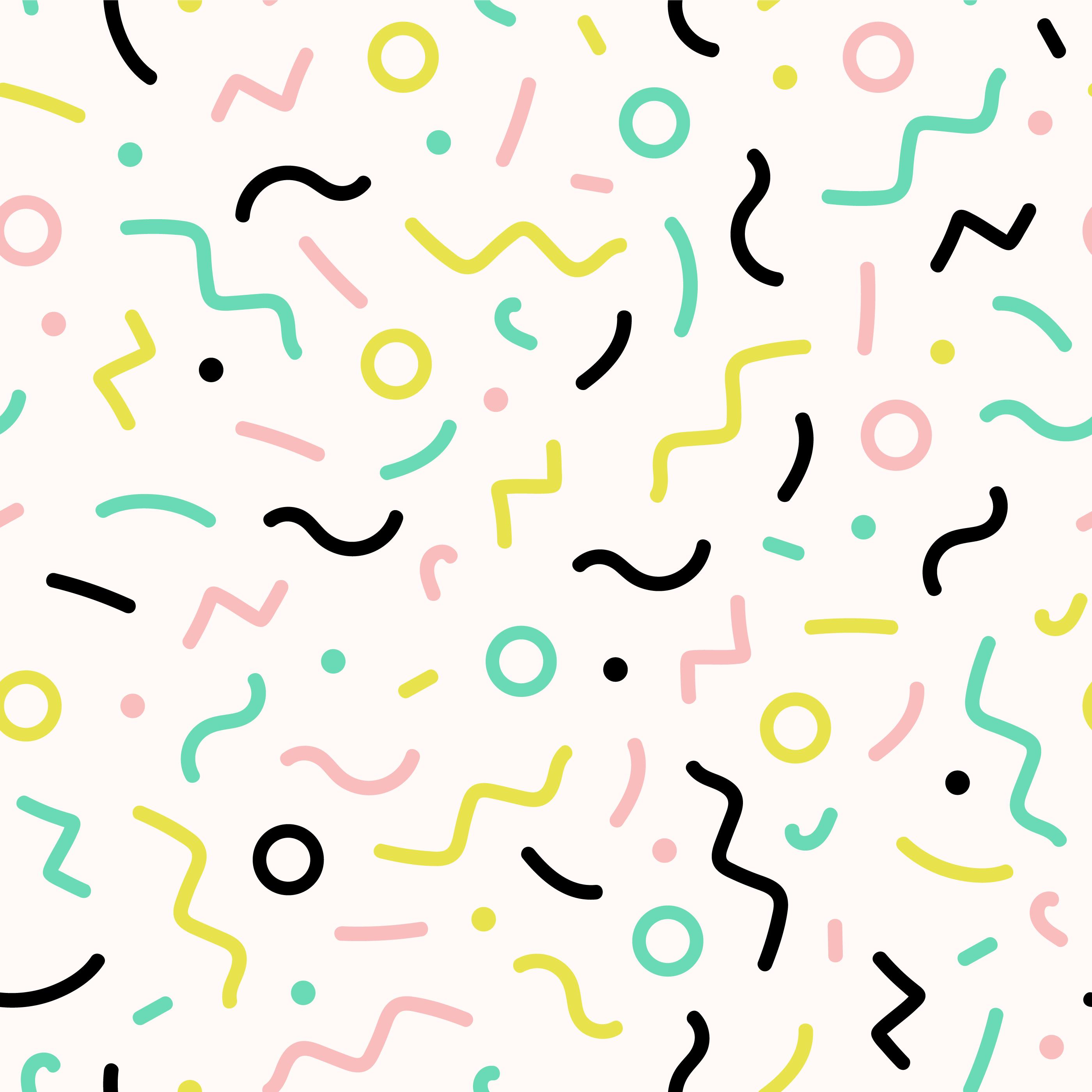 Seamlelss Memphis Geometric Lines Pattern