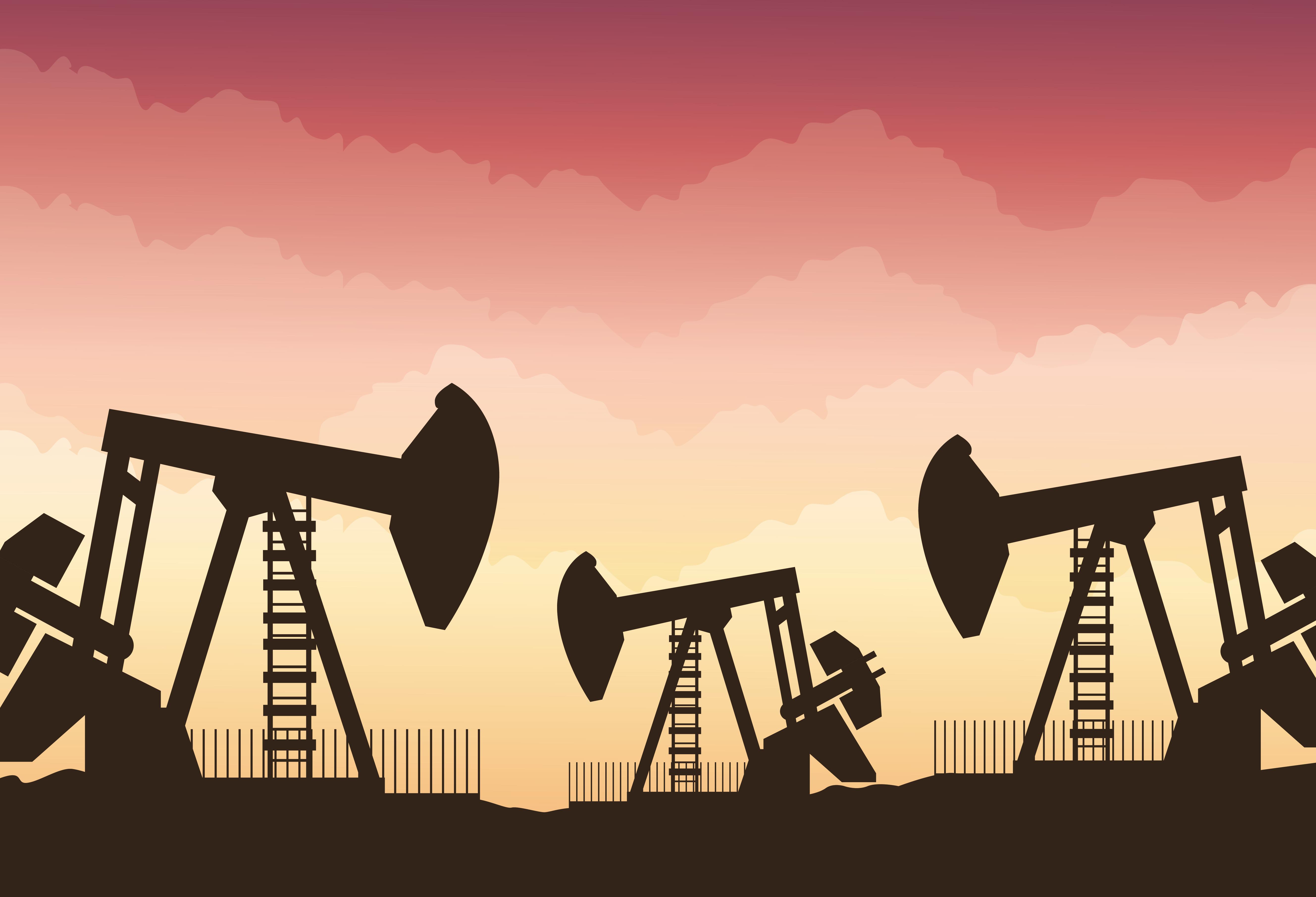 mercado de precios del petróleo con escena de refinería