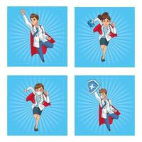 Super doctors staff comic characters vector