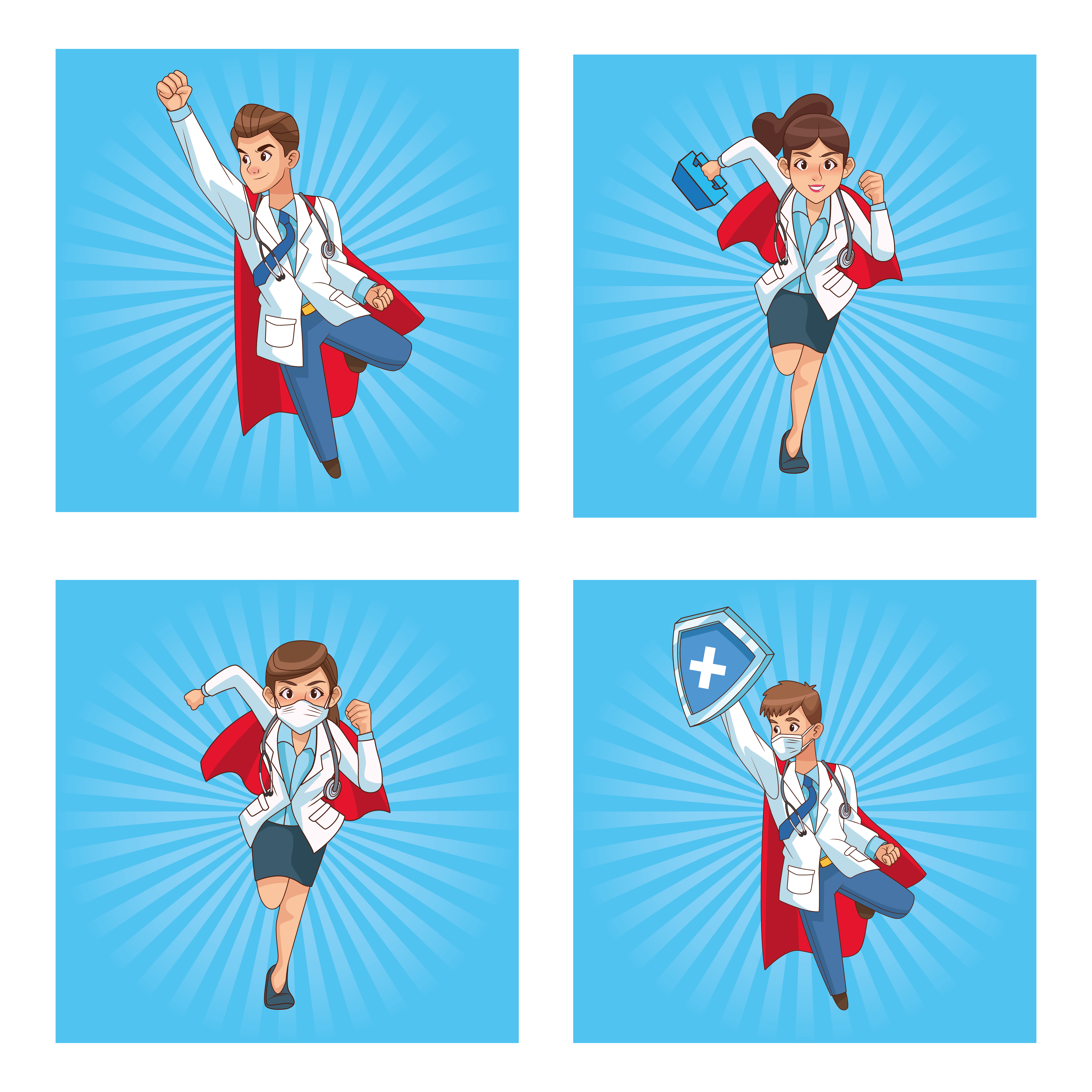 super médicos personal personajes de cómic