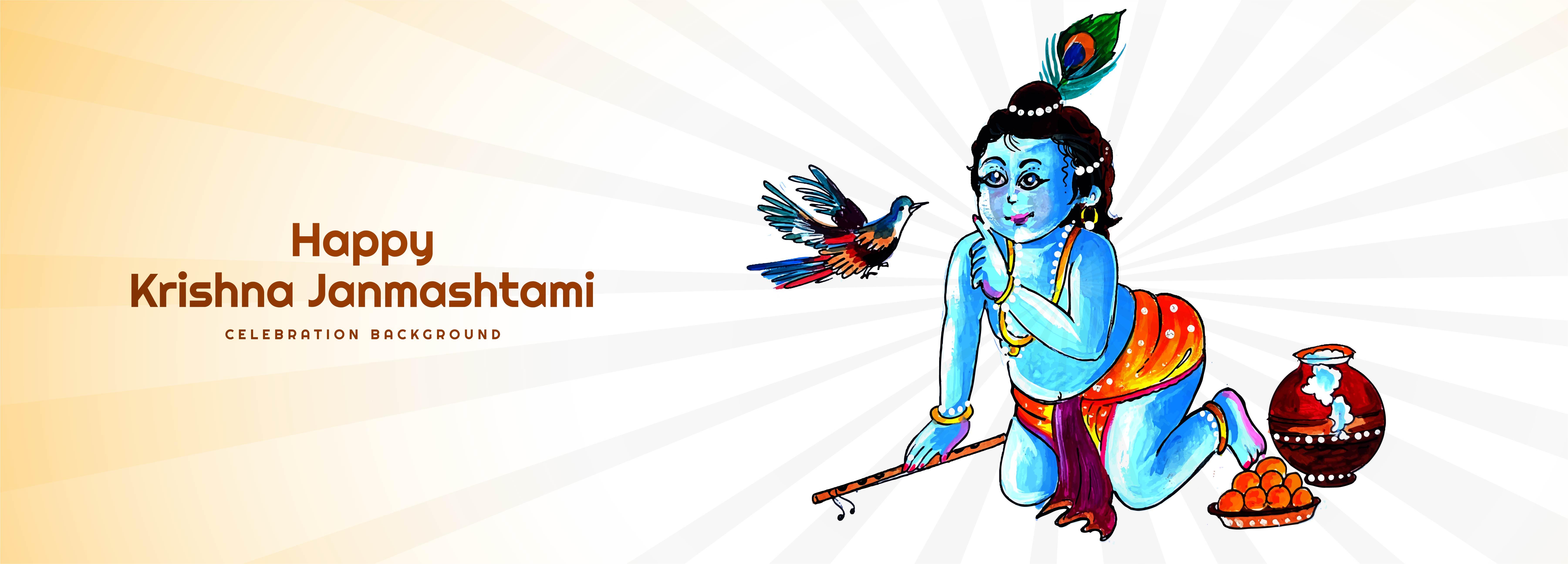 banner de tarjeta de festival de señor krishna y pájaro janmashtami