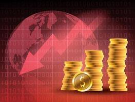 mercado de precios del petróleo con monedas y flecha hacia abajo vector