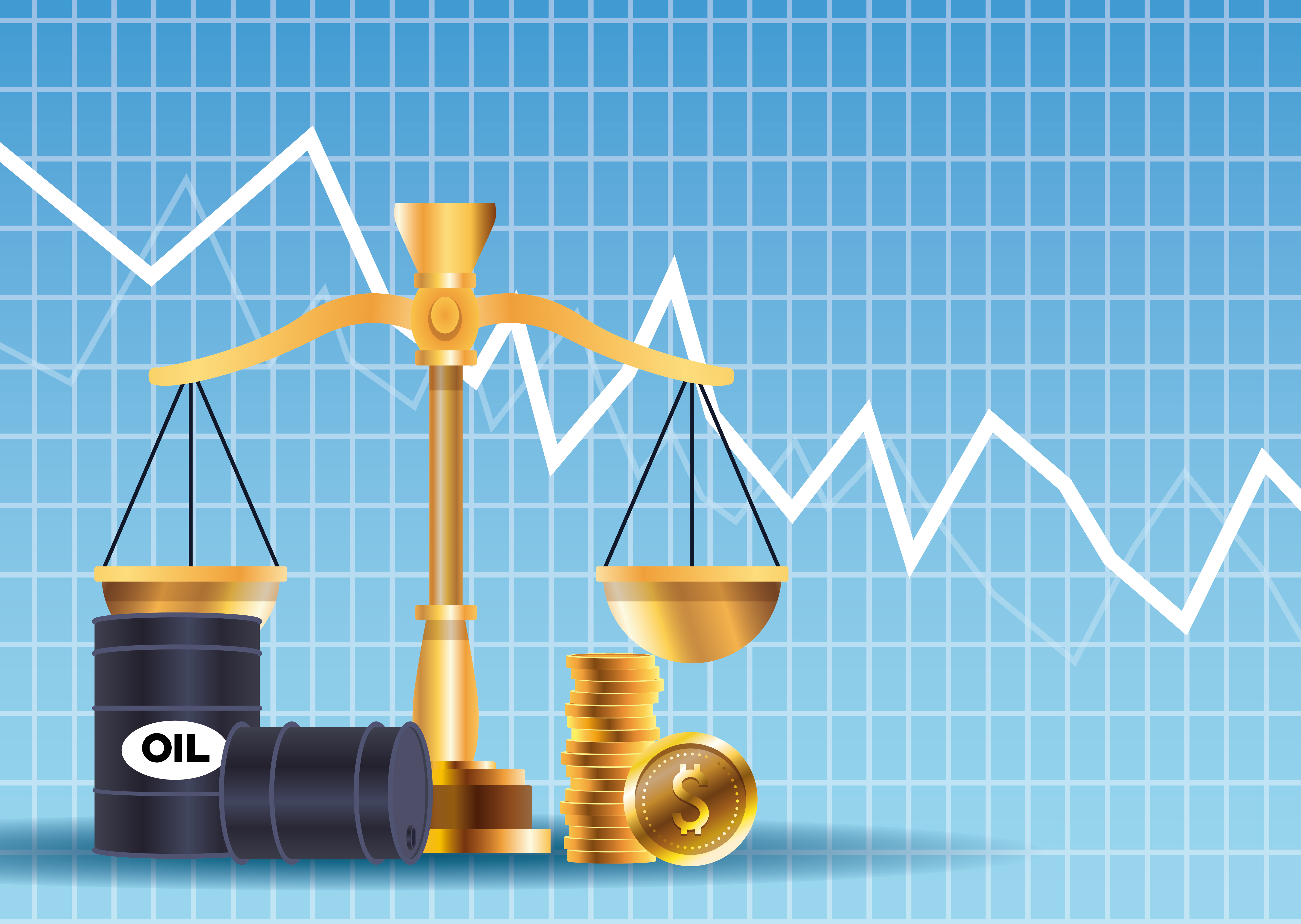 Oil price market with barrels and balance vector