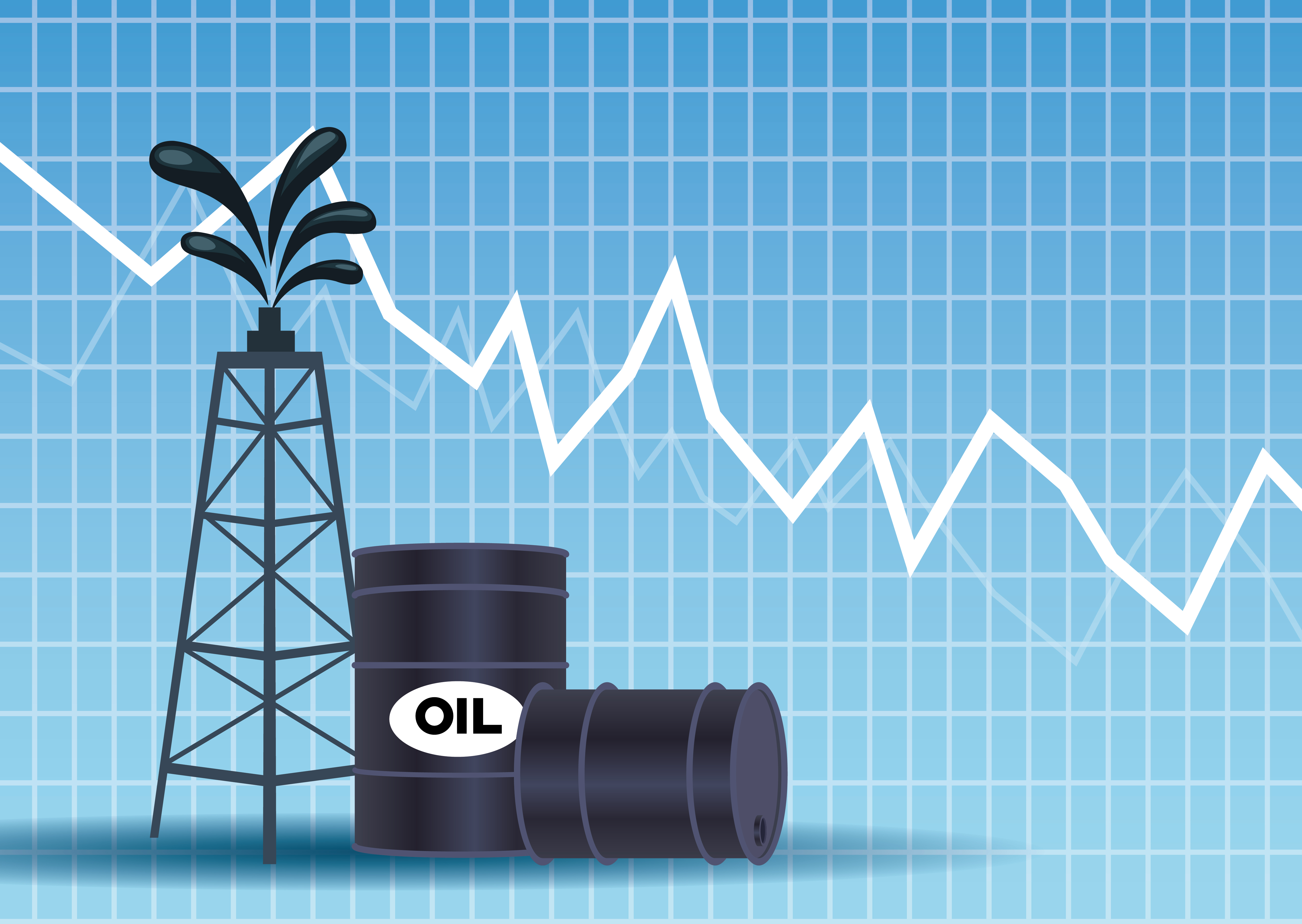 Oil price market with barrels and tower vector